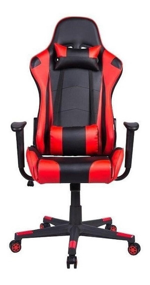Cadeira de escritório Pelegrin 3012 ergonômica preta e vermelha con estofado do couro sintético