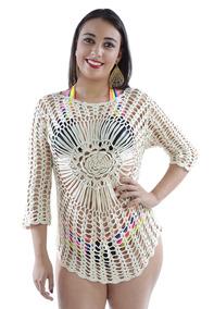 Saída De Praia Blusão Vestido Crochê Vazado Verão - Nude