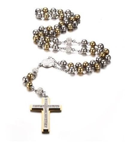 Terço Rosário Aço Titanio Importado Cristal Crucifixo 70 Cm