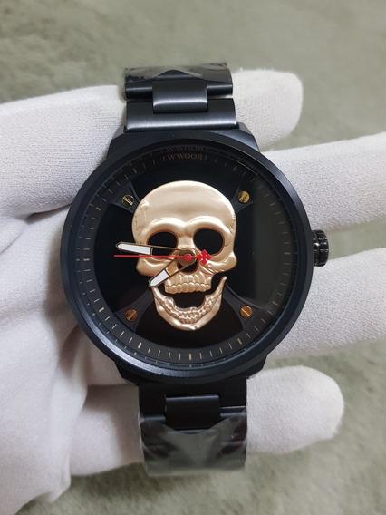 Relogio Wwoor Caveira Cranio Skull Dourado 2019 Com Caixa