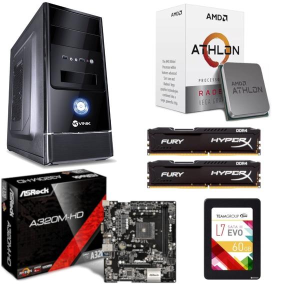 Pc Completo G1 One Athlon 200ge A320m Hd Hx 16gb Ssd 60gb