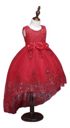 Vestido Para Niña Fiesta Elegante,cola D Pato Color Rojo