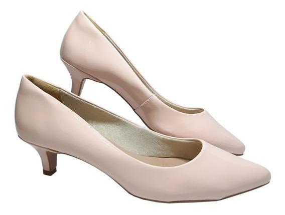 Sapato Scarpin Salto Baixo Nude Perolado Tamanhos 41 42 43