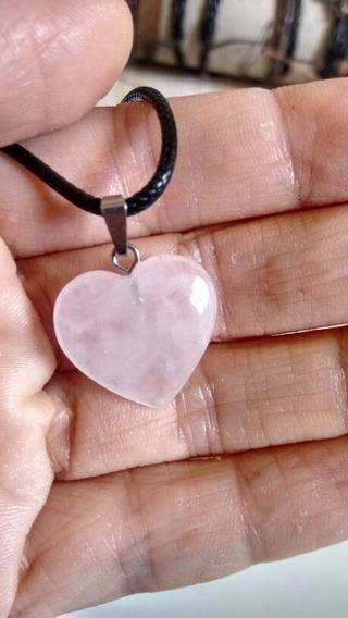 Colar Quartzo Rosa Coração.