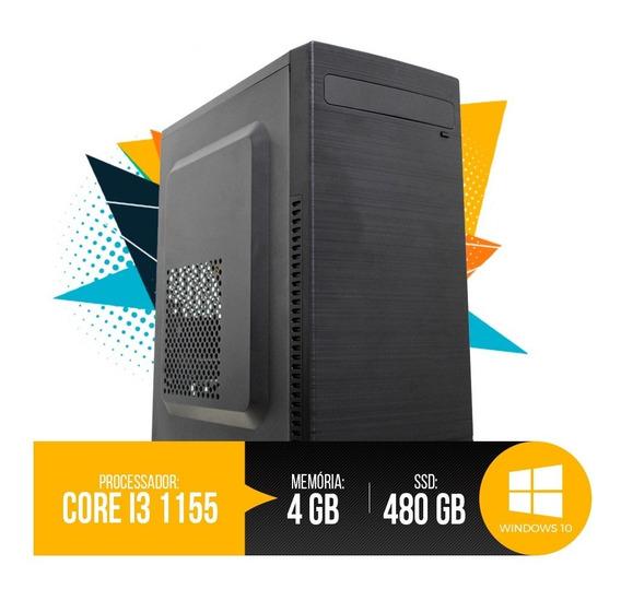 Desktop Pc Intel I3 1155 4gb Ram, Hd Ssd 480gb, 12x S/ Juros
