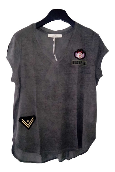 Remera Military Mujer Parches Gris Rap
