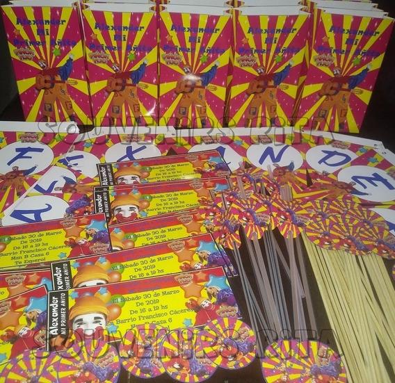 Promo Tarjetas Stickers Banderin Piñon Fijo X 20 Chicos