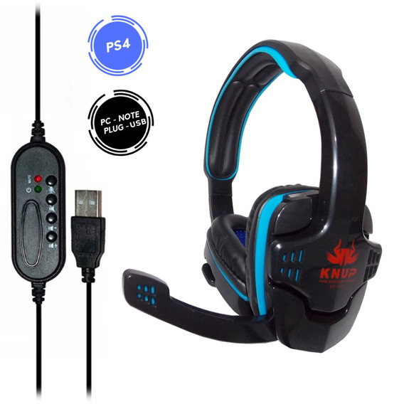 Headset Gamer Fone Com Microfone Usb Pc Notebook Ps4 Kp-357