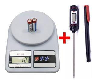 Balanza Cocina 10 Kg + Termometro Pinche Digital - Combo