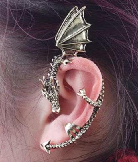 Lindo Brinco Ear Cuff Prateado Forma Dragao Unidade Fashion