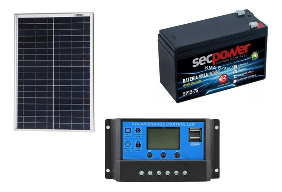 Kit Controlador De Carga + Painel Solar De 22w+ Bateria 7ah