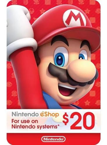 Imagen 1 de 1 de Tarjeta Nintendo Eshop 20 Dólares Estados Unidos Usa