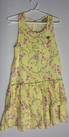 Lindo Vestido Amarelo Com Flores Marca Milon Tam 8 Semi Novo