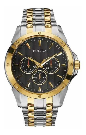 Relógio Bulova Classic Quartz Black Dial Two Tone 98c120