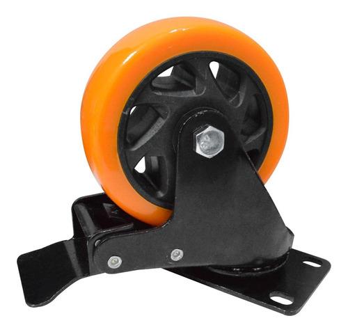 Rodachines 3'' Naranja Con Freno Giratorio 75mm 100k