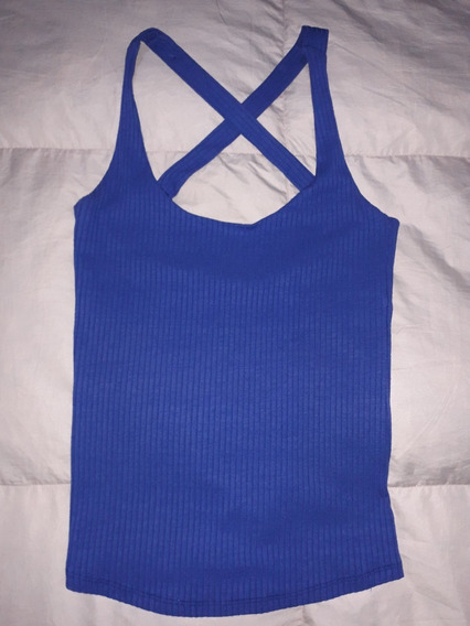 Musculosa Cuesta Blanca Azul Espalda En Cruz