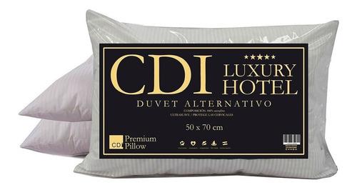 Pack X 2 Almohadas Cdi Hotel Luxury Microfibra Rayada 70x50