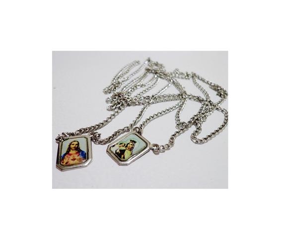 Escapulário Aço Inox Kit Com 5 Unid Sagrado Coração De Jesus