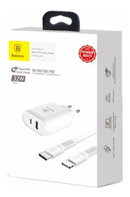 Kit Baseus 32w Carregador Rapido iPhone X 8 Plus Com Pd Cabo