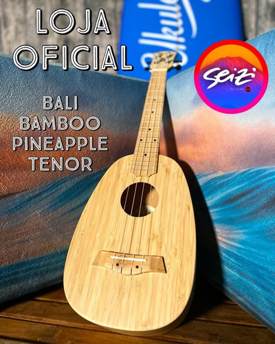Imagem 1 de 8 de Ukulele Seizi Bali Pineapple Tenor Elétrico Solid Bamboo
