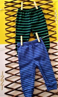 Paquete X 2 Pantalón Azul Rayas Verdes Y Azul Rayas Negras