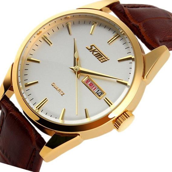 Relógio Skmei 9073 Quartz Dourado Visor Prata Frete Grátis