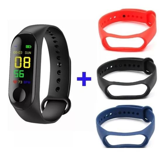 Smartband M3 Relógio Inteligente Com 4 Pulseiras - Monitor Cardíaco