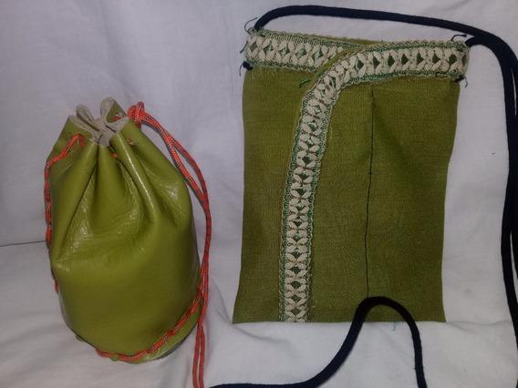 2 Bandoleras De Tela Y Cuero Verdes (microcentro)