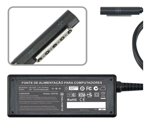 Fonte Carregador Para Surface Pro 2 Pro Rt 12v 2a 24w Mm 785