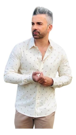 Camisa Social Manga Longa Slim Fit Drakar Palm- Pronta Entrega