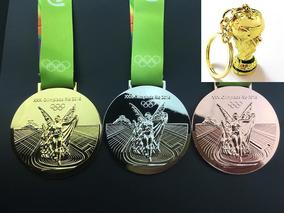 Conjunto Medalha Olímpiada Brasil Rio 2016 + Brinde