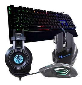Kit Gamer Haiz Teclado Mouse 7 Botoes Headset 5.1 Led Hz19