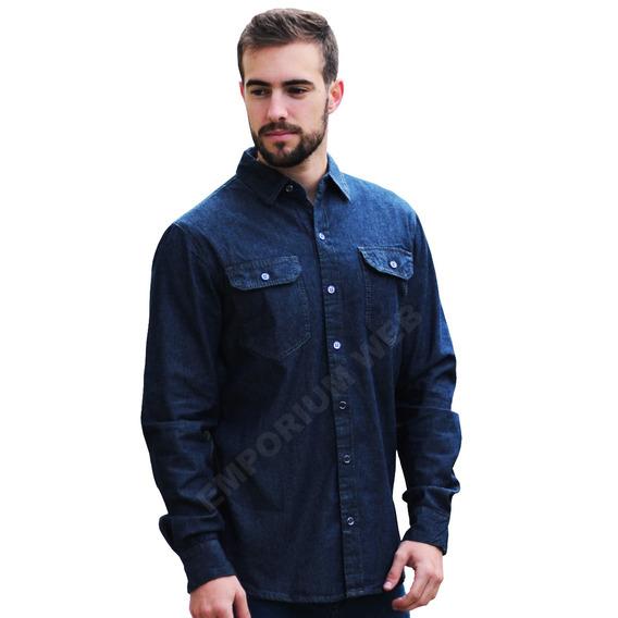 Camisa Jeans Masculina Slim Fit Casual Social Importada Luxo