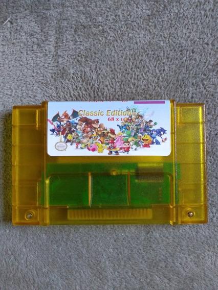 Cartucho Fita 68 Em 1 Super Nintendo Snes
