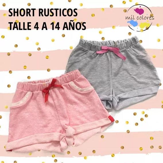 Short Ruticos Rosa Gris Verano 2020 Bolsillos Nenas Oferta
