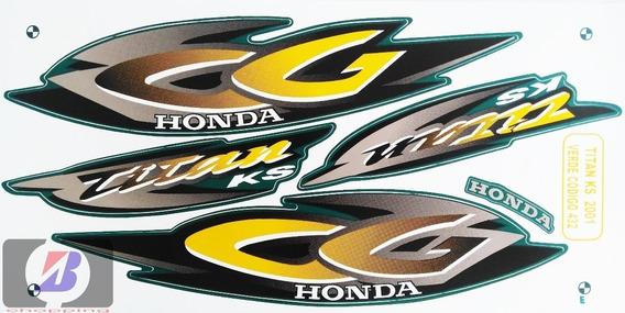 Kit Jogo Faixa Adesivos Cg Titan 125 Ks 2001 Verde