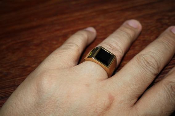 Anel Masculino Dourado Banhado Ouro 18k Comendador