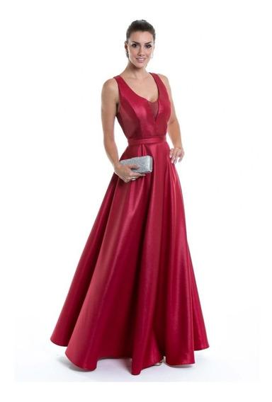 Vestido Zibeline Madrinha Formatura Rosa Ou Serenit Decote V