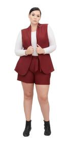 Conjunto Maxi Colete E Short Cintura Alta Plus Size