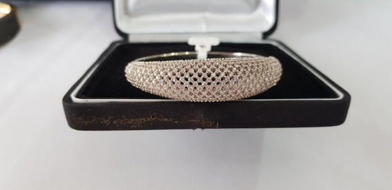 Bracelete Folhado A Prata Com Zircônias - 5,3cm /4,7 Cm