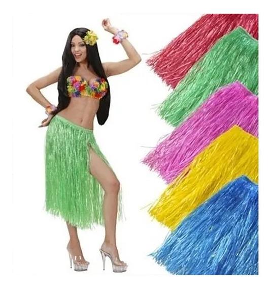 10 Larga Falda Hawaiana Fiesta Alberca Luau Tiki Aloha