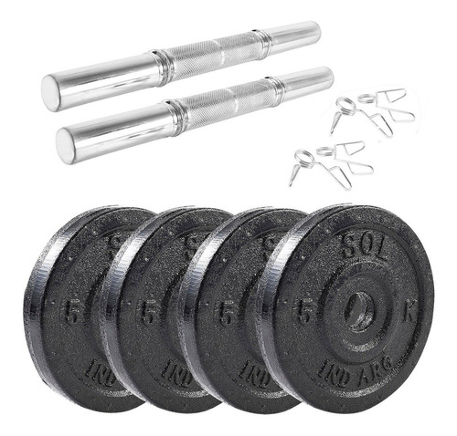 Sol Fitness Set 2 Mancuernas Y Discos Fundición 20kg (4x5kg)