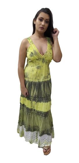 Vestido Longo Regata Renda No Busto Indiano Tie Dye 904
