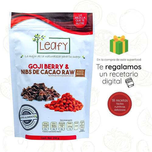 Imagen 1 de 8 de Goji Berries Con Nibs De Cacao Orgánico Leafy 250g