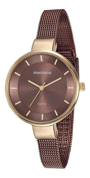 Relógio Mondaine Feminino Dourado/chocolate 76597lpmvae5
