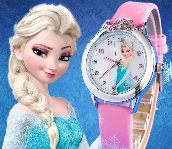 Relógio Infantil Menina Elsa Frozen Disney Rosa Strass