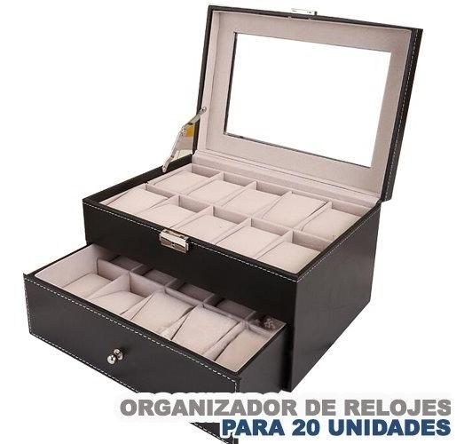 Caja Organizador De 20 Unidades Relojes Color Negro Con Envi