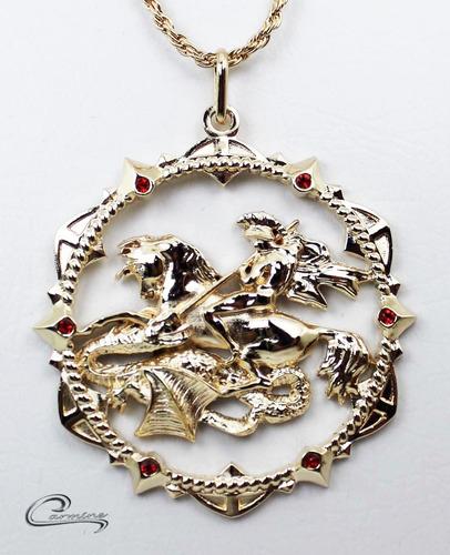 Colar São Jorge,10 Camadas Ouro 18k,pingente,joia, Religiosa