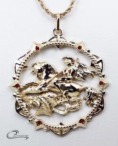 Colar, São Jorge, Folheado, Ouro 18k, Pingente,joia