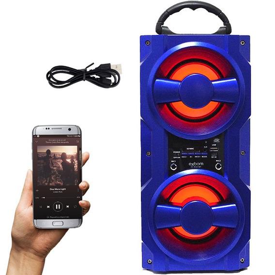 Caixa Som Bluetooth 10w Amplificada Bateria Portátil Azul